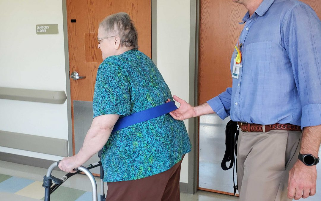 Close Guarding for Patient Safety During Balance Training or Gait Training.